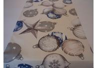 Běhoun na ubrus 140×40 cm s vánočním motivem - baňky modré stříbrotisk